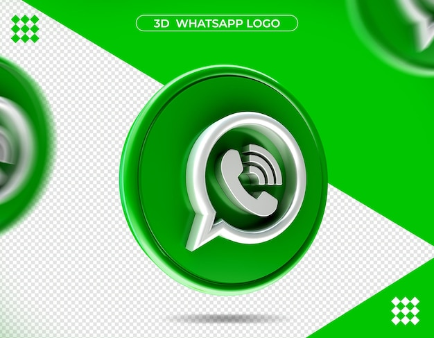 3d whatsapp logo in 3d rendering isolated