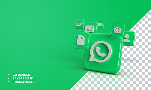 3d whatsapp with icon in whatsapp application.