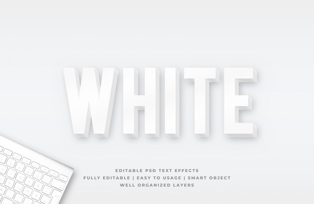 3d white clean text style effect