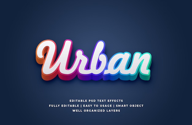 3d white gradient urban text style effect