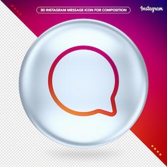 3d white instagram message