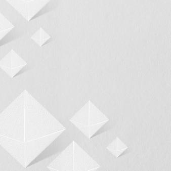 3d white paper craft pentahedron patterned background