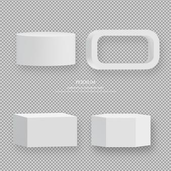 투명 한 배경에 3d 흰색 연단 세트