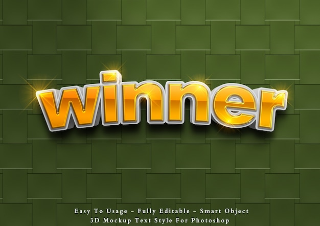 3d победитель редактируемый эффект стиля текста