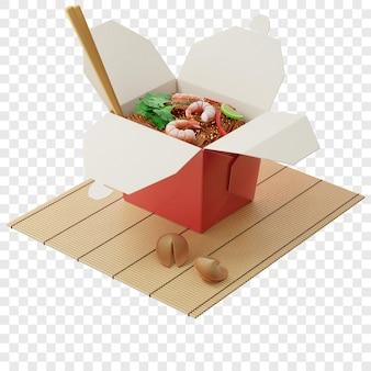 3d лапша вок в красной коробке с креветками на бамбуковой циновке рядом с печеньем с предсказаниями изометрический вид