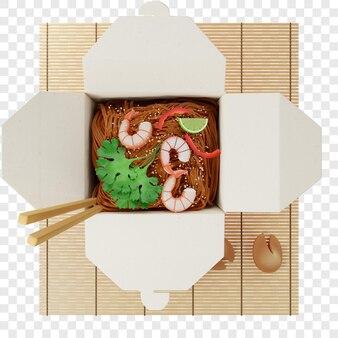 3d лапша вок в красной коробке с креветками на бамбуковой циновке рядом с видом сверху печеньем с предсказаниями