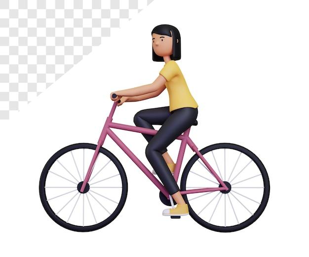 3d女性はサイクリングしています
