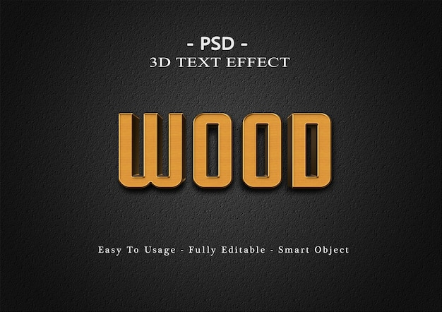 3d 나무 텍스트 스타일 효과 템플릿