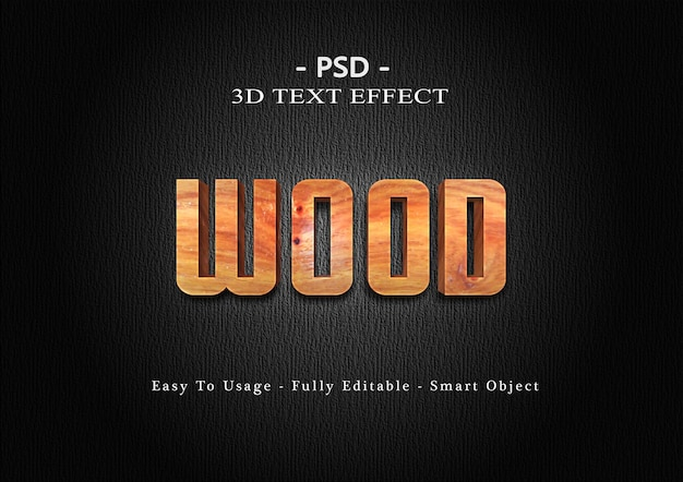 3d wood text style effect