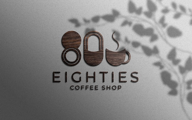 3d wood texture logo mockup on wall