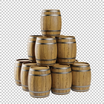 3d wooden barrels stacked