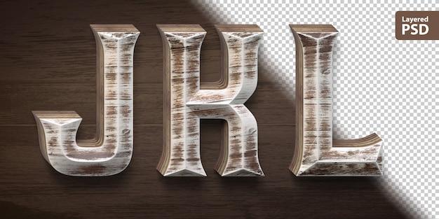 3d 나무 글꼴 설정합니다. 편지 jkl