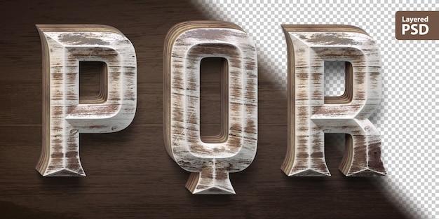 3d wooden font set. letters p q r.