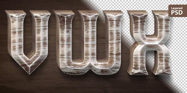 3d wooden font set. letters v w x.