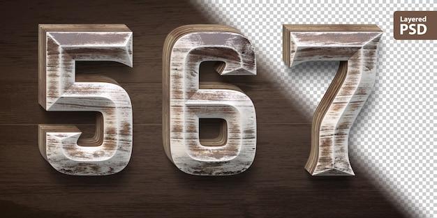 3d wooden font set. numbers 5 6 7.