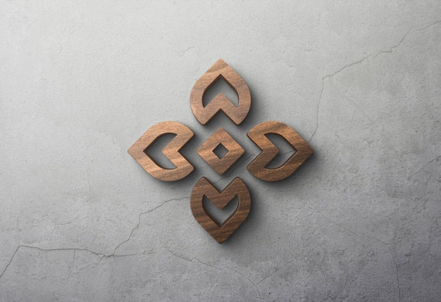 3d wooden logo mockup on concrete wall