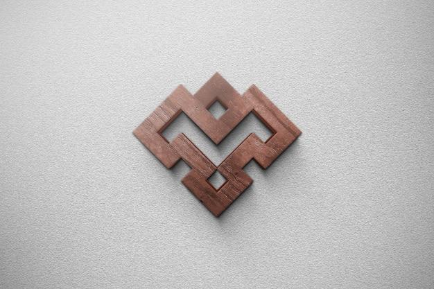 3d деревянный стиль макета логотипа в стене