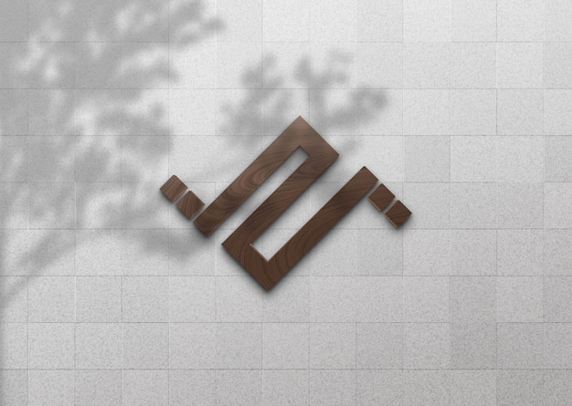 3d wooden logo mockup on white wall with tree shadow