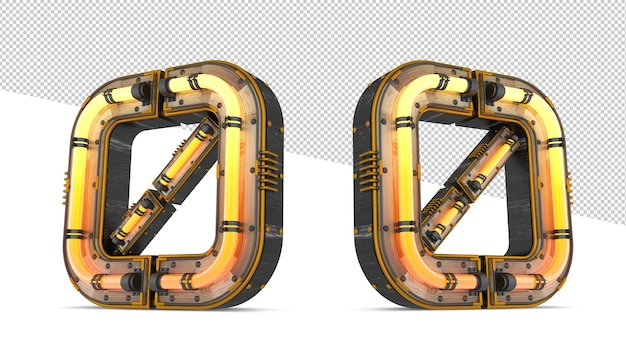 ネオンライト効果のある3d木製番号
