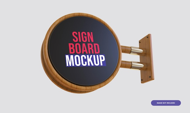 3d木製看板モックアップ