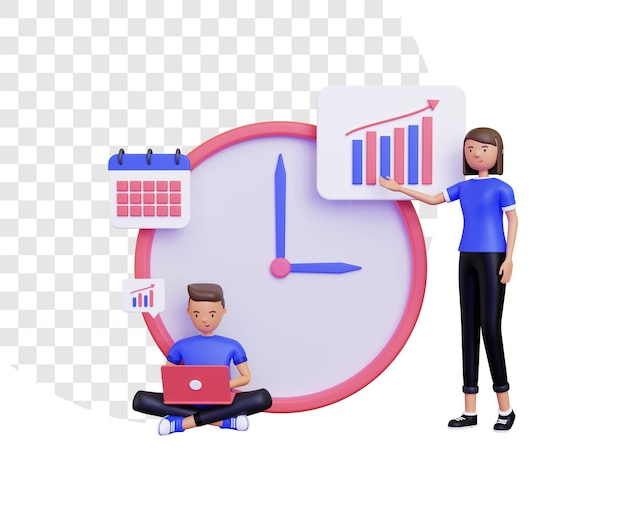3d working time with male and female characters