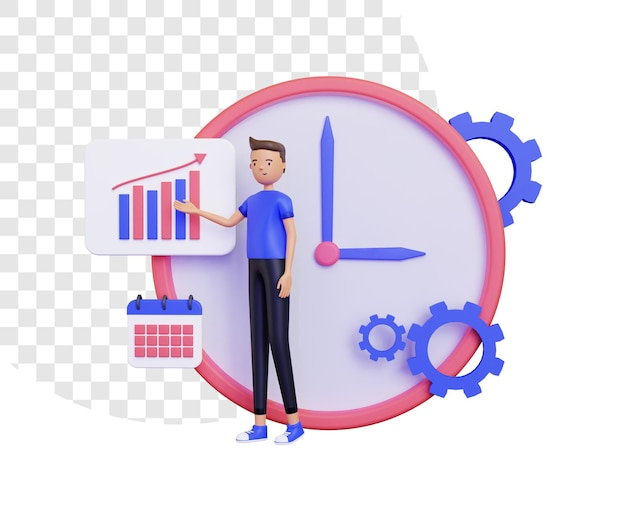 3d working time with a man presenting business in front of a big clock