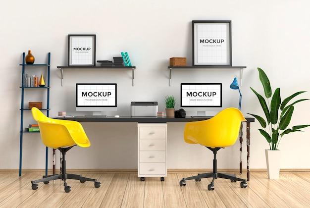3d рабочее пространство в интерьере офиса с дизайном макета рамы