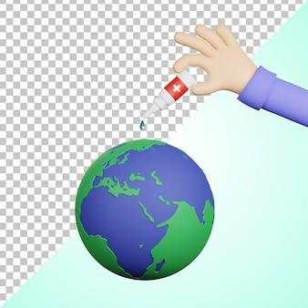 透明な背景を持つ3d世界ポリオの日