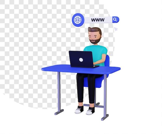 노트북을 사용하는 남성 캐릭터가 있는 3d 월드 와이드 웹 또는 www