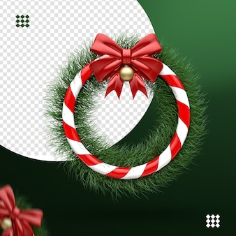 3d wreath with bow and christmas ball for composition