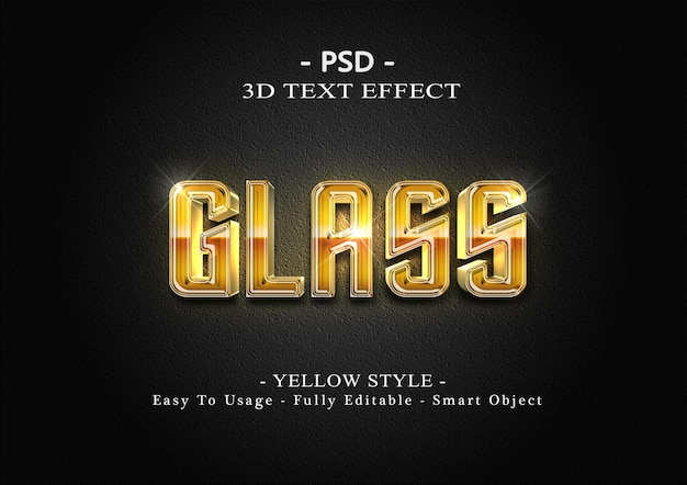 3d 노란색 유리 텍스트 스타일 효과 템플릿