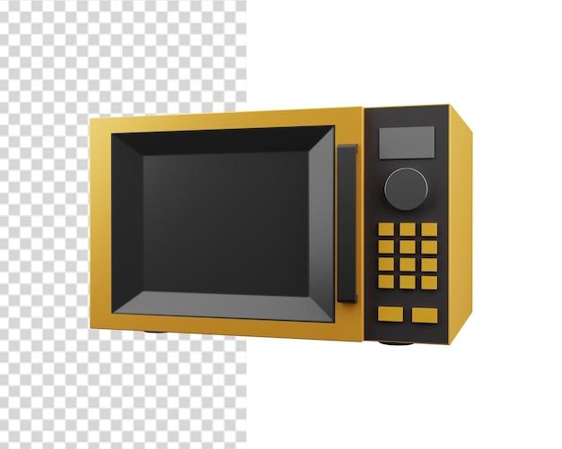 3d黄色の電子レンジのイラスト。分離された3d電子レンジアイコン。