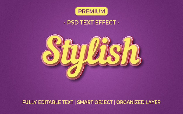 3d yellow and purple text effect mockup