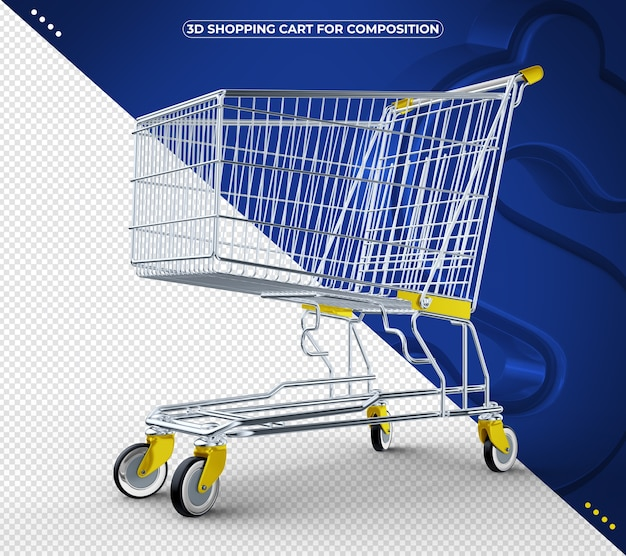 3d yellow shopping cart isolated on blue background