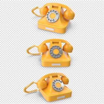 分離された3d黄色ヴィンテージ電話