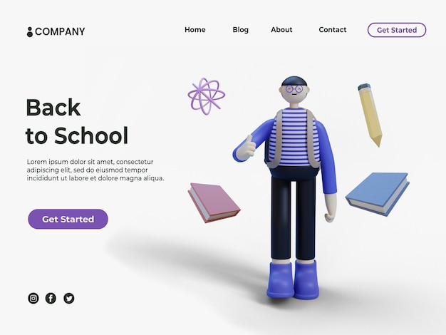 3dの若い男または学生と教育の背景またはランディングページの鉛筆で本