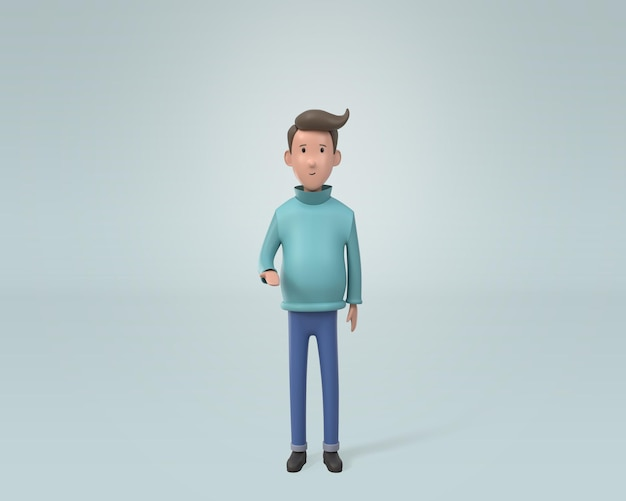 3d, young man wearing winter cloths standing and and opened his hands.