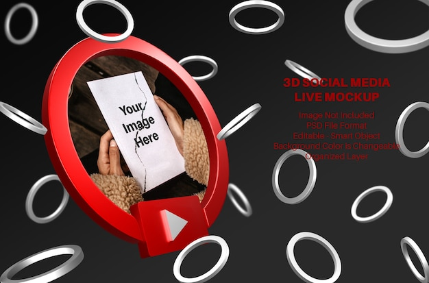 3d youtube avatar social media live streaming mockup