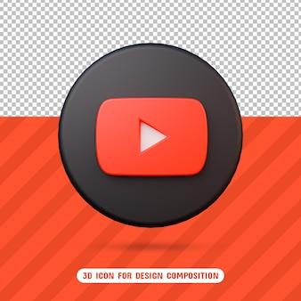 Значок 3d youtube в 3d-рендеринге