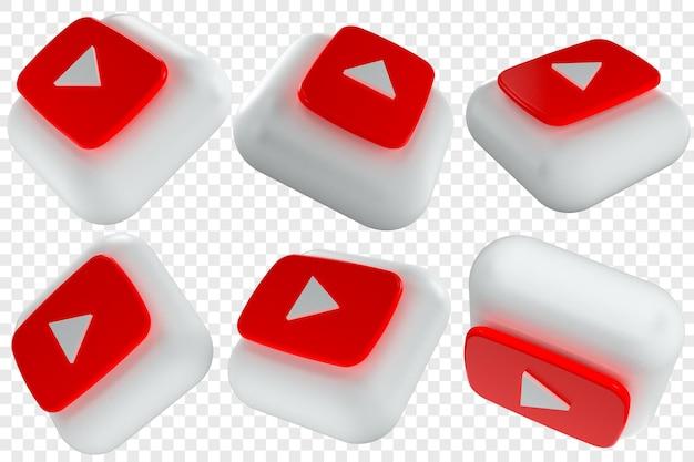 Изолированные иллюстрации 3d иконки youtube в шести разных ракурсах