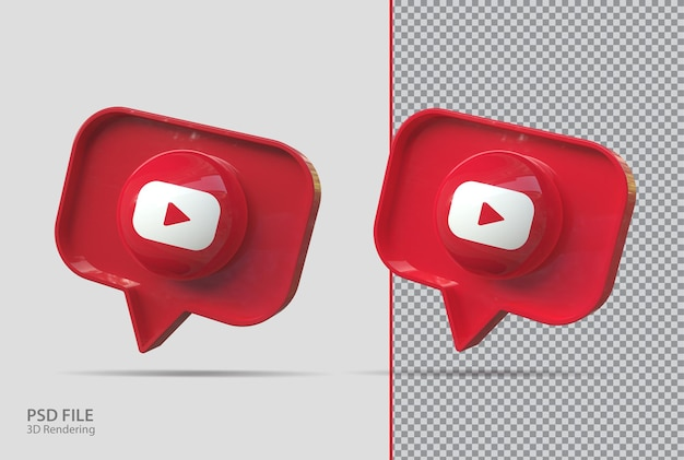 3d youtube icons render creative