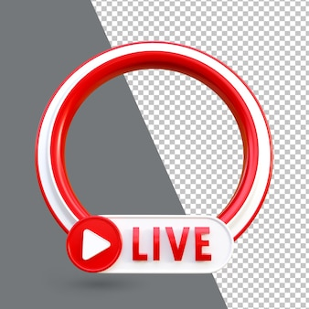 3d youtube 라이브 스트리밍 소셜 미디어 프레임 아이콘