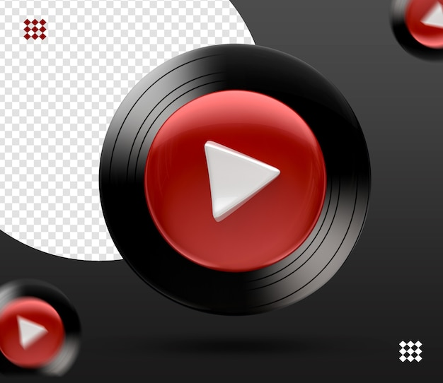 3d youtube music logo icon isolated