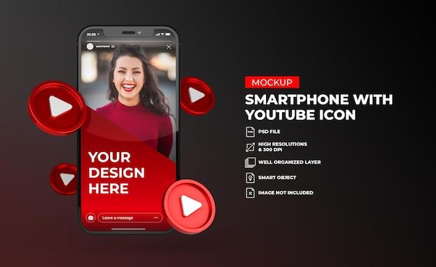 모바일 화면 스마트 폰 모형과 3d 유튜브 소셜 미디어 아이콘
