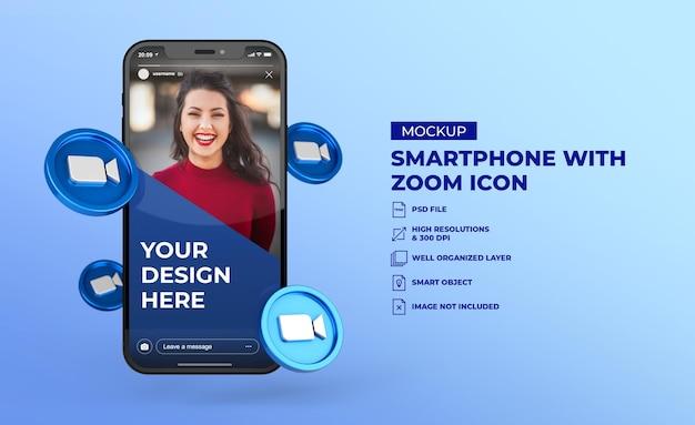 모바일 화면 스마트 폰 모형과 3d 줌 소셜 미디어 아이콘 프리미엄 PSD 파일