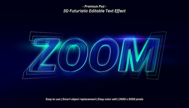 3d zoom text effect template