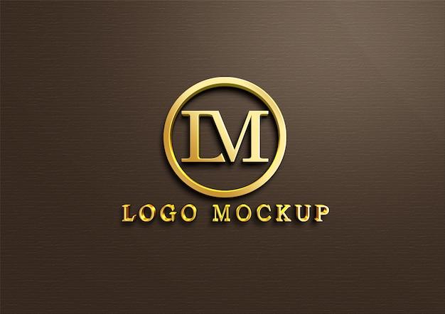3d золотой логотип макет на стену