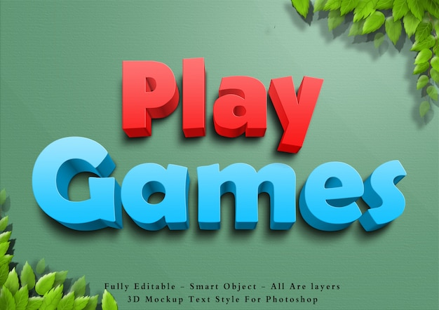 3d играть в игры, стиль текста эффект