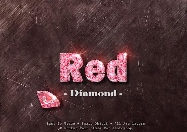 Эффект стиля текста красного алмаза 3d