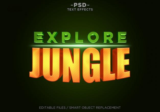 3dジャングルオレンジ効果の編集可能なテキスト